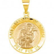 14K Yellow 15mm Round Hollow St. Francis of Assisi Medal