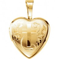 Gold Plated & Sterling Silver Cross Heart Locket