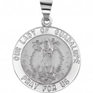 14K Yellow 15mm Round Hollow Our Lady of Guadalupe Medal