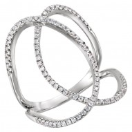 14K White 3/8 CTW Diamond Freeform Ring