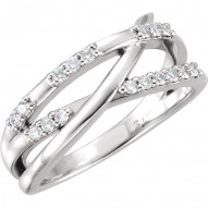 14K White 1/4 CTW Diamond Criss-Cross Ring