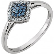 14K White 1/6 CTW Blue & White Diamond Cluster Ring