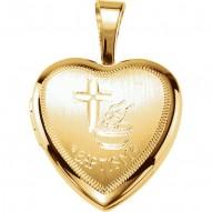 Sterling Silver Baptism Heart Locket