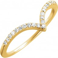 "14K Yellow 1/6 CTW Diamond ""V"" Ring Size 7"