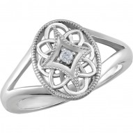 Sterling Silver .025 CTW Diamond Ring Size 8