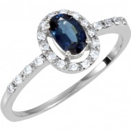 14K White 1/6 CTW Diamond & 6x4mm Blue Sapphire Ring