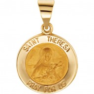 14K Yellow 18.5mm Round Hollow St. Theresa Medal