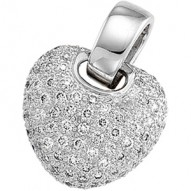14K White 1 CTW Diamond Pave Heart Pendant