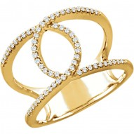14K Yellow 1/5 CTW Diamond Interlocking Loop Ring
