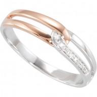 14K White Rose Plated .03 CTW Diamond Ring