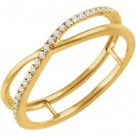 14K Yellow 1/10 CTW Diamond Criss-Cross Ring