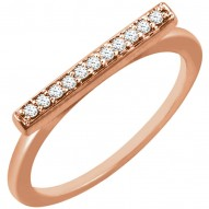 14K Rose 1/10 CTW Diamond Bar Ring
