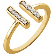 14K Yellow 1/10 CTW Diamond Vertical Bar Ring