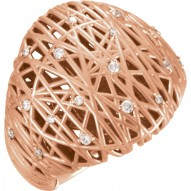 14K Rose 1/5 CTW Diamond Nest Design Ring