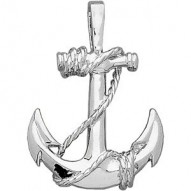 14K White Anchor Pendant