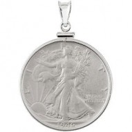 Sterling Silver Walking Liberty 1/2 Dollar Coin Set Into a Sterling Silver Coin Frame