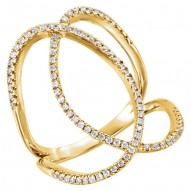 14K Yellow 3/8 CTW Diamond Freeform Ring
