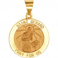 14K Yellow 15mm Round Hollow St. Gerard Medal