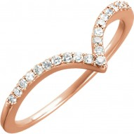 "14K Rose 1/6 CTW Diamond ""V"" Ring Size 7"