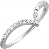 "14K White 1/6 CTW Diamond ""V"" Ring Size 7"