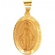 14K Yellow 15x11.5mm Oval Hollow Miraculous Medal