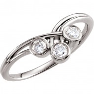 14K White 3mm Round Three-Stone Ring Mounting