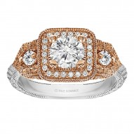Round Cut Halo Diamond Vintage Engagement Ring