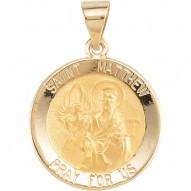 14K Yellow 14.75mm Round Hollow St. Matthew Medal