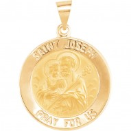 14K Yellow 22mm Round Hollow Joseph Medal
