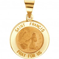 14K Yellow 18.25mm Round Hollow St. Francis Medal