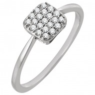 14K White 1/6 CTW Diamond Square Cluster Ring