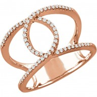 14K Rose 1/5 CTW Diamond Interlocking Loop Ring