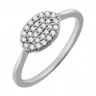 14K White 1/5 CTW Diamond Oval Cluster Ring