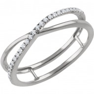 14K White 1/10 CTW Diamond Criss-Cross Ring