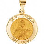 14K Yellow 14.75mm Round Hollow St. Theresa Medal