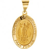 14K Yellow 15x11mm Oval Hollow Our Lady of Guadalupe Medal