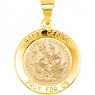 14K Yellow 15mm Round Hollow Miraculous Medal
