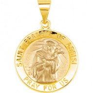 14K Yellow 18.25mm Round Hollow St. Francis of Assisi Medal