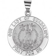 14K White 22mm Round Hollow Our Lady of Guadalupe Medal