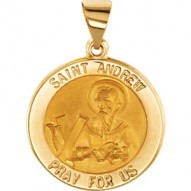14K Yellow 15mm Round Hollow St. Andrew Medal