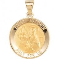 14K Yellow 18.5mm Round Hollow St. Matthew Medal