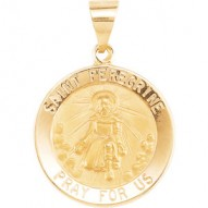 14K Yellow 18.25mm Round Hollow St. Peregrine Medal