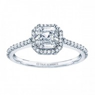 Rm1309-14k White Gold Cushion Cut Halo Diamond Engagement Ring