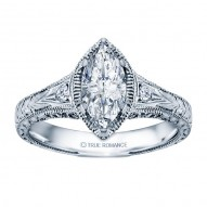 Rm1316m-14k White Gold Vintage Engagement Ring