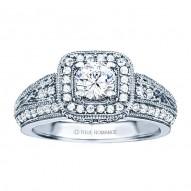 Rm1377-14k White Gold Vintage Engagement Ring
