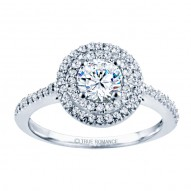 Rm1394-14k White Gold Halo Engagement Ring