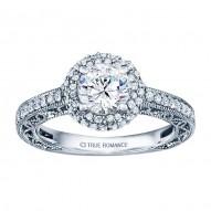 Rm1403 -14k White Gold Round Cut Double Halo Diamond Vintage Engagement Ring