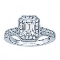 Rm1436-14k White Gold Vintage Engagement Ring